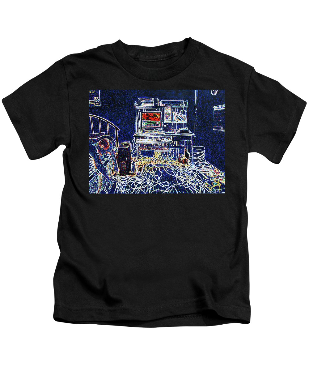 Computers Kids T-Shirt featuring the painting Computers And Wires by Tommy Midyette