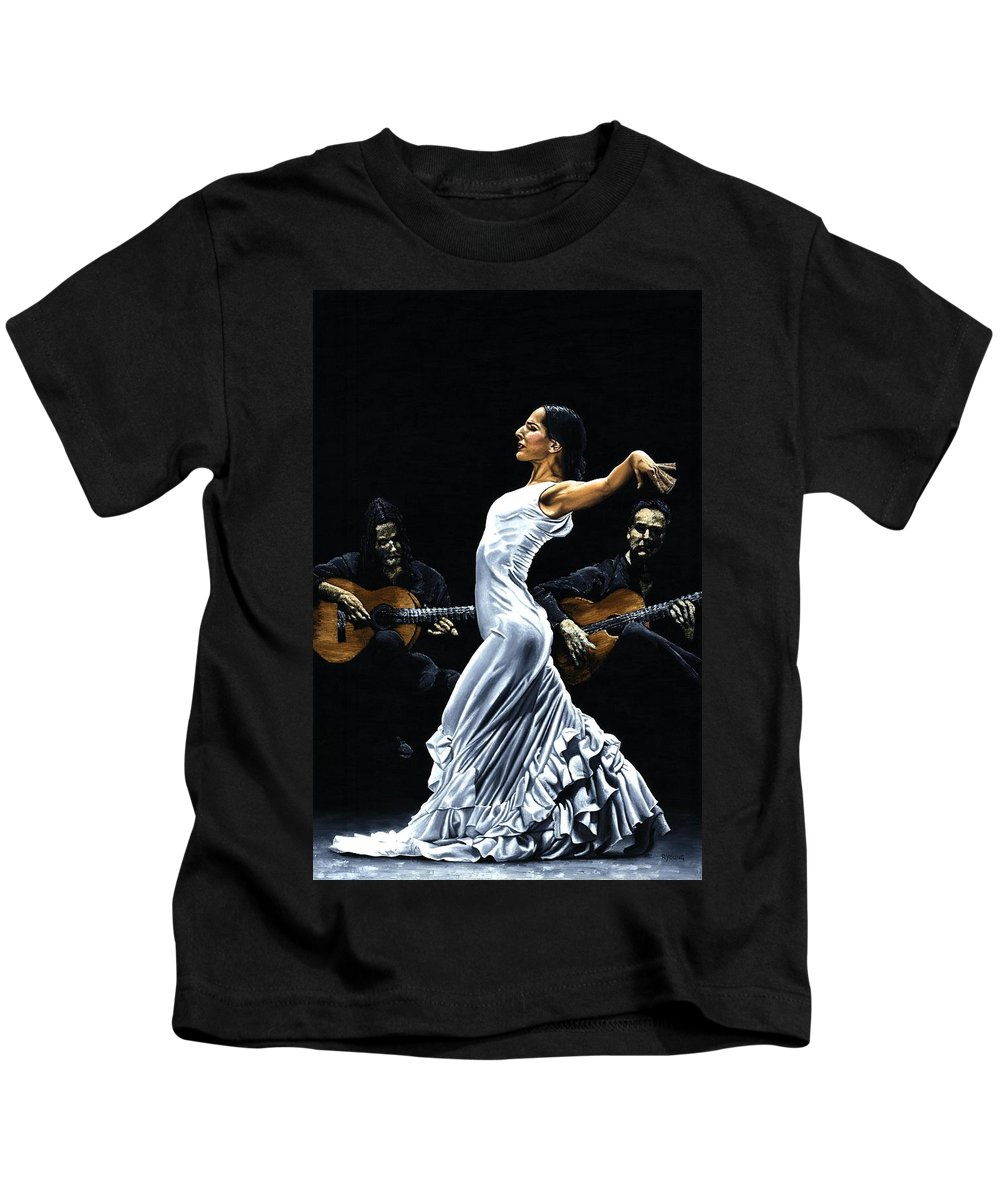 Flamenco Kids T-Shirt featuring the painting Concentracion Del Funcionamiento Del Flamenco by Richard Young