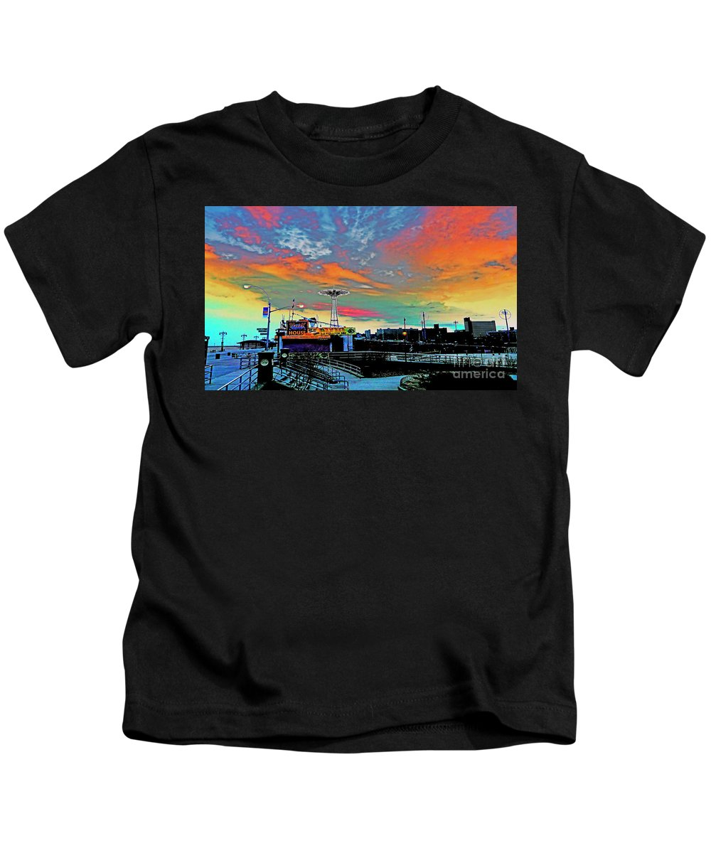 Coney Island Kids T-Shirt featuring the photograph Coney Island In Living Color by Kendall Eutemey
