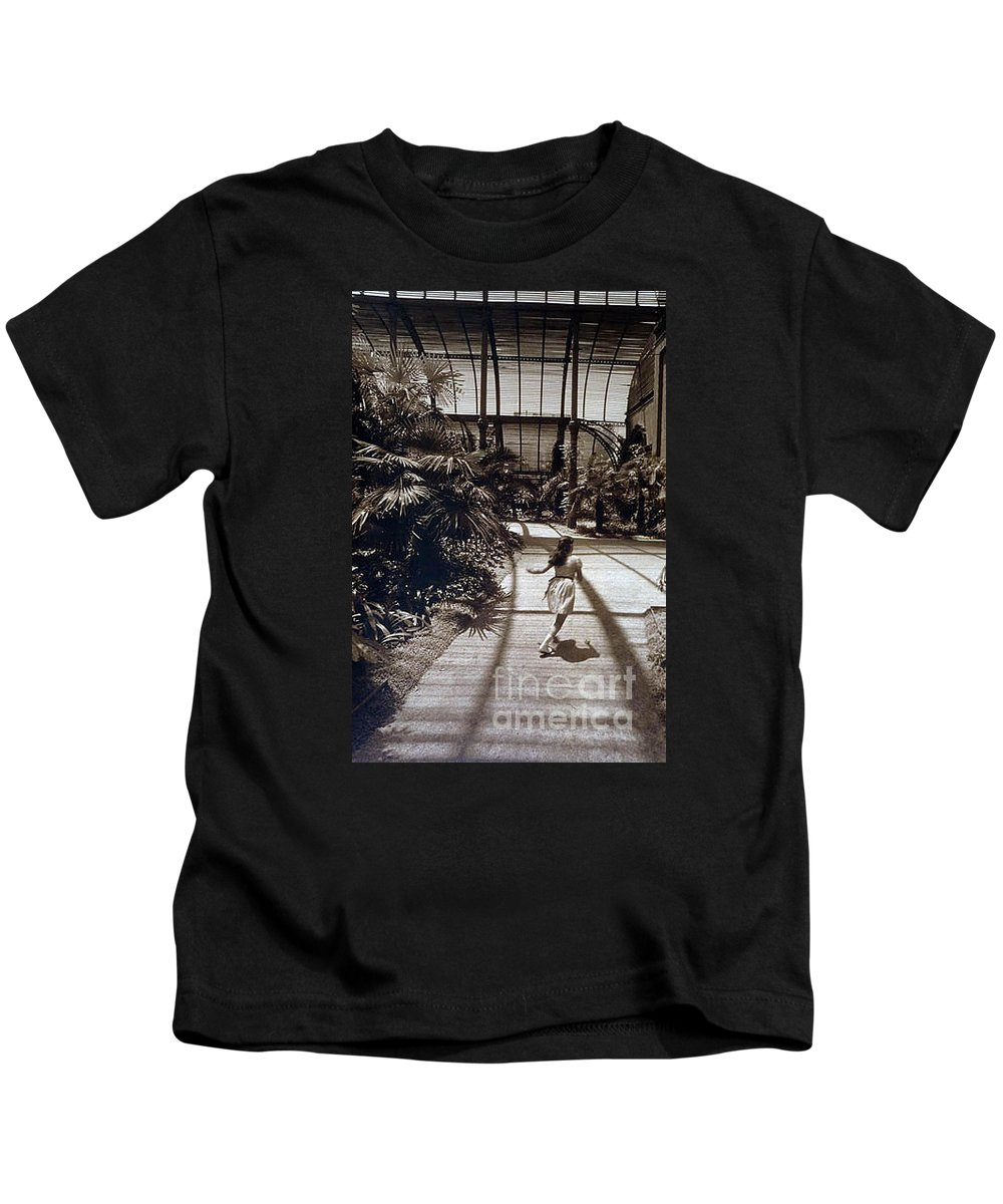 Sepia Kids T-Shirt featuring the photograph Conservatory, Barcelona 1976 by Michael Ziegler