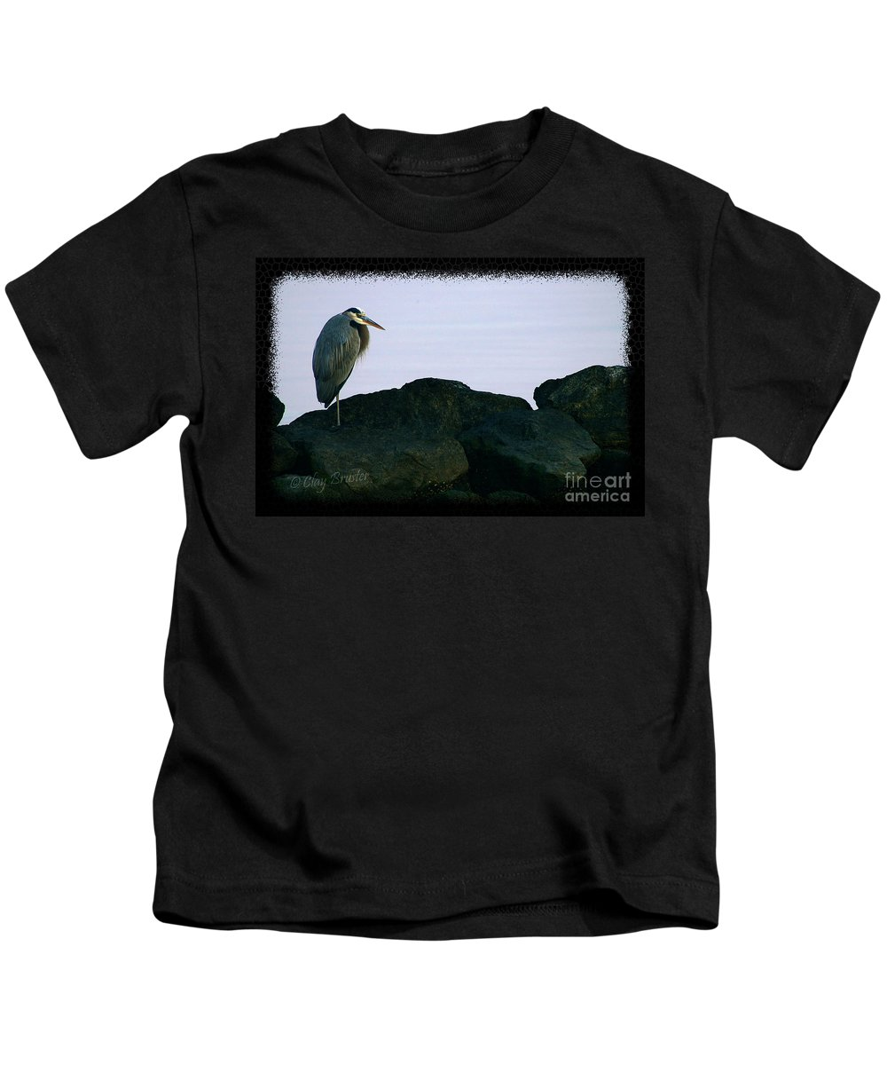 Clay Kids T-Shirt featuring the photograph Contemplating Heron by Clayton Bruster