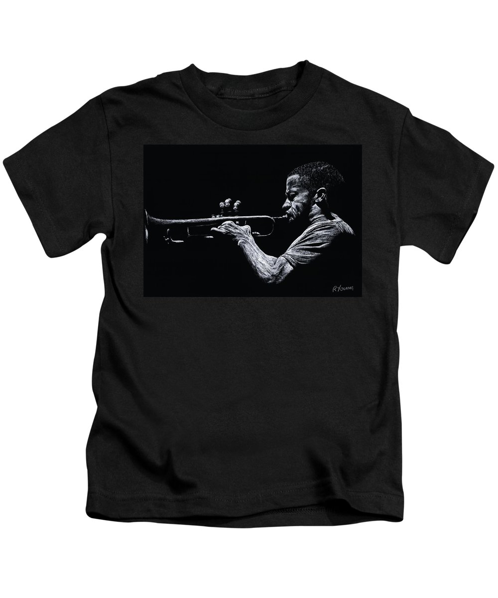 Musician Kids T-Shirt featuring the pastel Contemporary Jazz Trumpeter by Richard Young