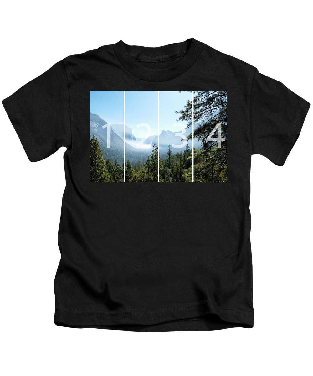 El Capitan Kids T-Shirt featuring the digital art Controlled Burn Of Yosemite Panoramic Map by Michael Bessler