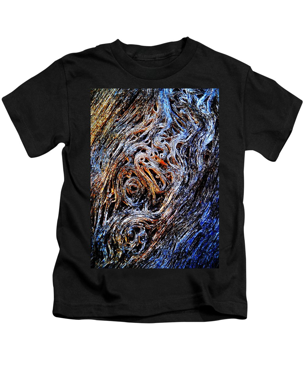 Abstract Curl Twirl Twist Spin Line Linework Flow Convoluted Whorl Meander Wavy Undulate Kids T-Shirt featuring the digital art Convolution by Francesa Miller