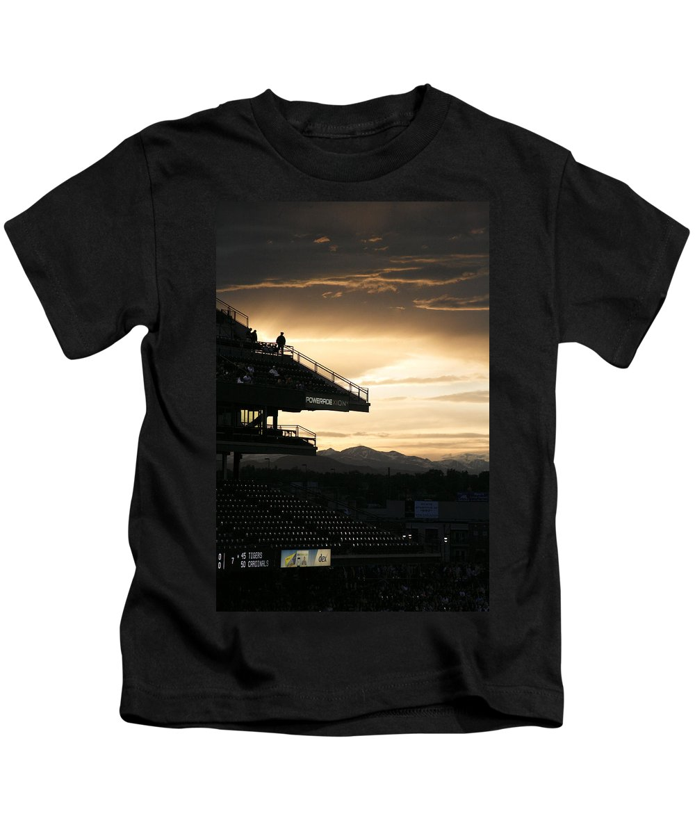 Americana Kids T-Shirt featuring the photograph Coors Field At Sunset by Marilyn Hunt