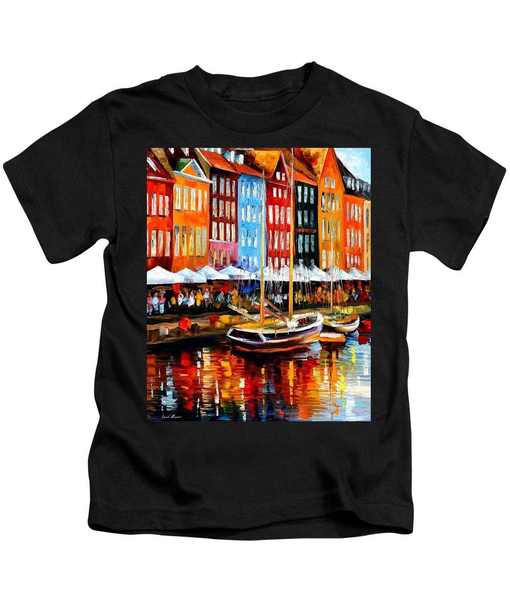 Afremov Kids T-Shirt featuring the painting Copenhagen Denmark by Leonid Afremov