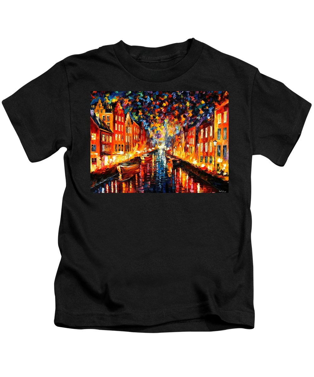 Afremov Kids T-Shirt featuring the painting Copenhagen by Leonid Afremov