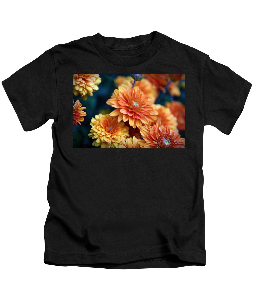 Flowers Kids T-Shirt featuring the photograph Copper Mums by Cricket Hackmann