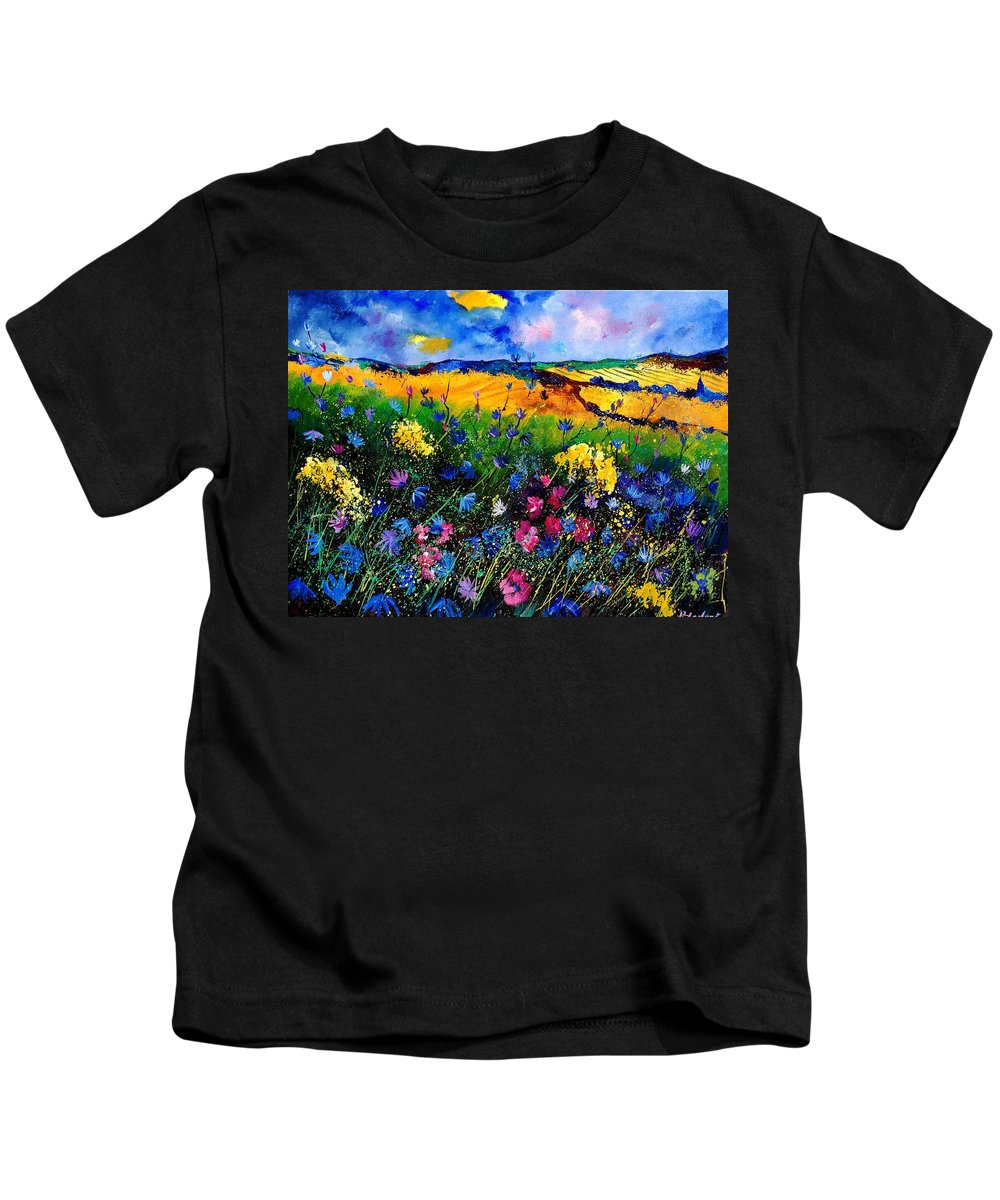Flowers Kids T-Shirt featuring the painting Cornflowers 680808 by Pol Ledent