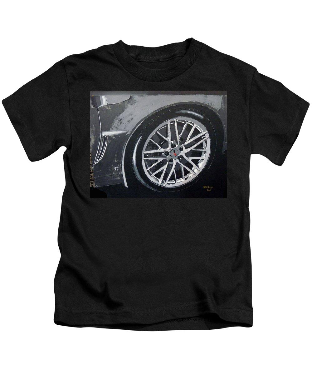 Corvette Kids T-Shirt featuring the painting Corvette Wheel by Richard Le Page