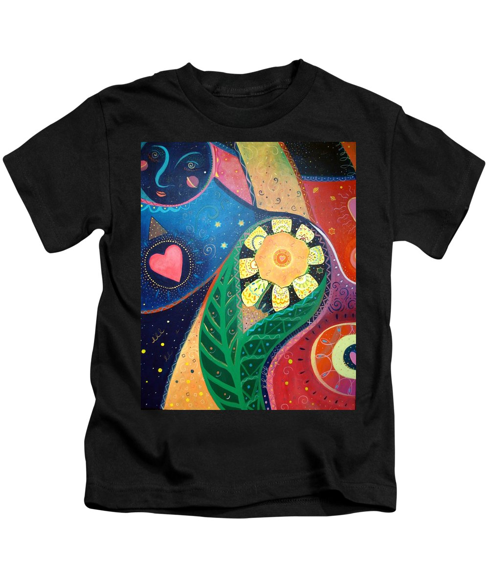 Yin And Yang Kids T-Shirt featuring the painting Cosmic Carnival II Aka Duality by Helena Tiainen