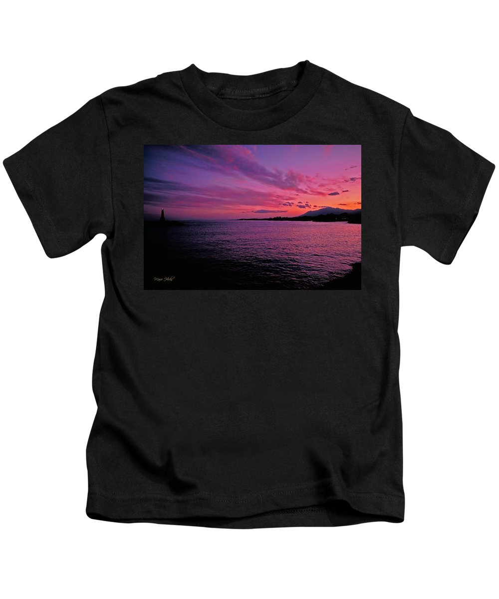 Costa Del Sol Kids T-Shirt featuring the photograph Costa Del Sol Sunset In Marbella by Marie Hicks