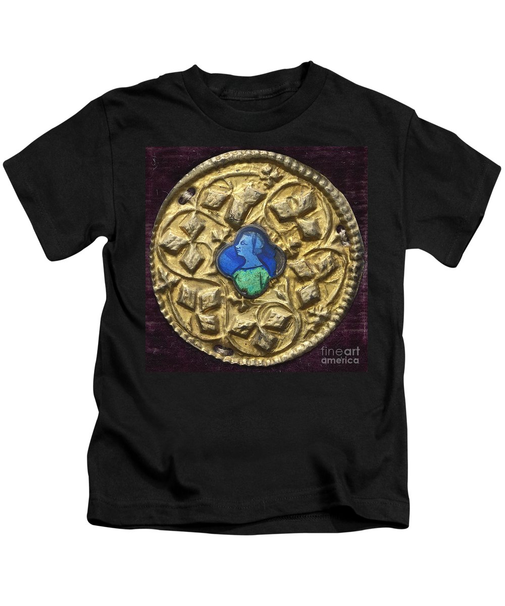 Kids T-Shirt featuring the painting Costume Ornament With Profile Portrait by North Italian 14th Century