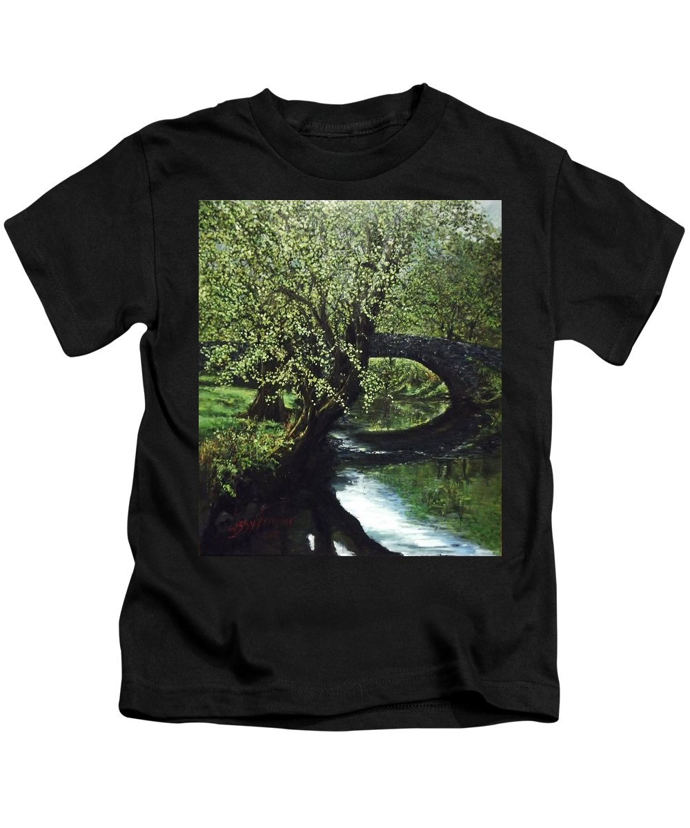 Tranquility Kids T-Shirt featuring the painting Cotswolds Scene 1 by Lizzy Forrester