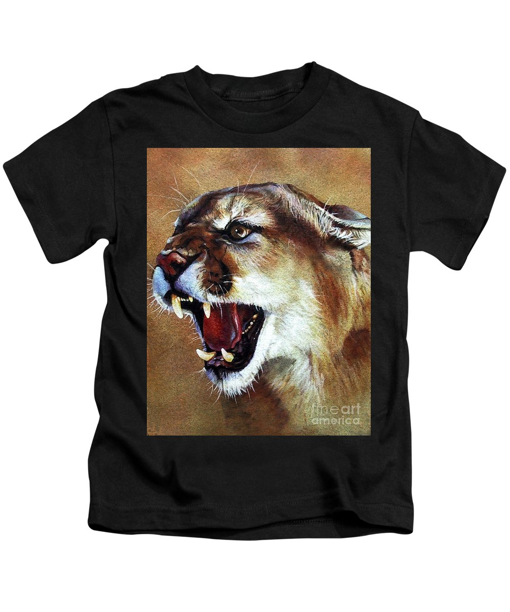 Southwest Art Kids T-Shirt featuring the painting Cougar by J W Baker
