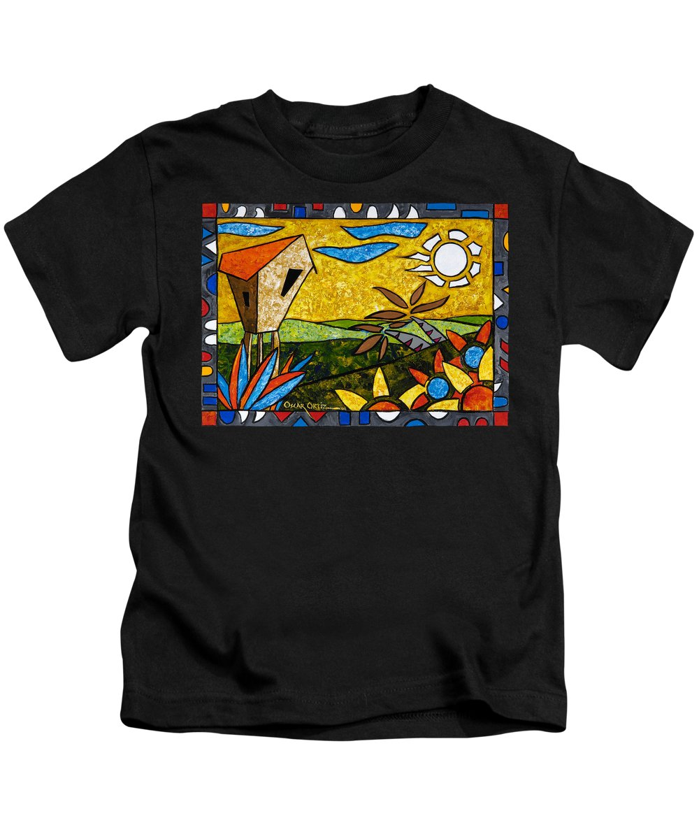 Puerto Rico Kids T-Shirt featuring the painting Country Peace by Oscar Ortiz