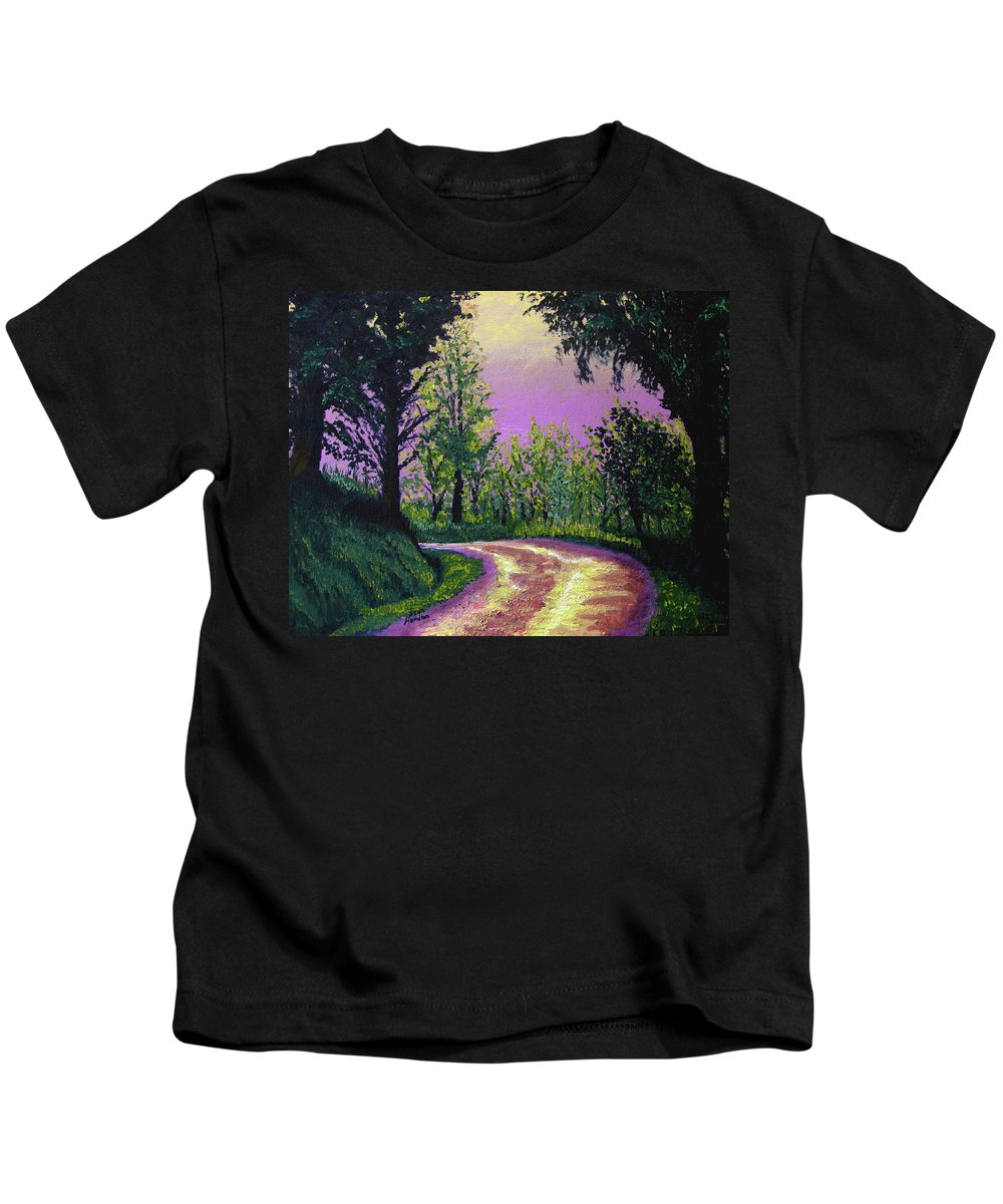 Landscape Kids T-Shirt featuring the painting Country Road by Stan Hamilton