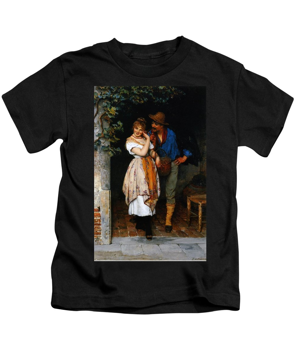 Couple Kids T-Shirt featuring the painting Couple Courting by Eugen von Blaas