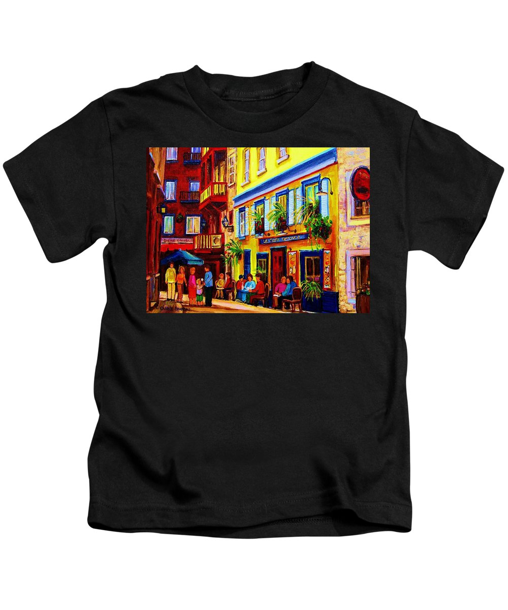 Courtyard Cafes Kids T-Shirt featuring the painting Courtyard Cafes by Carole Spandau