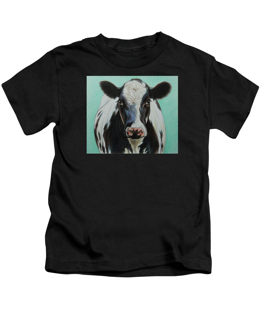 Cow Kids T-Shirt featuring the drawing Cow by Lucy Deane