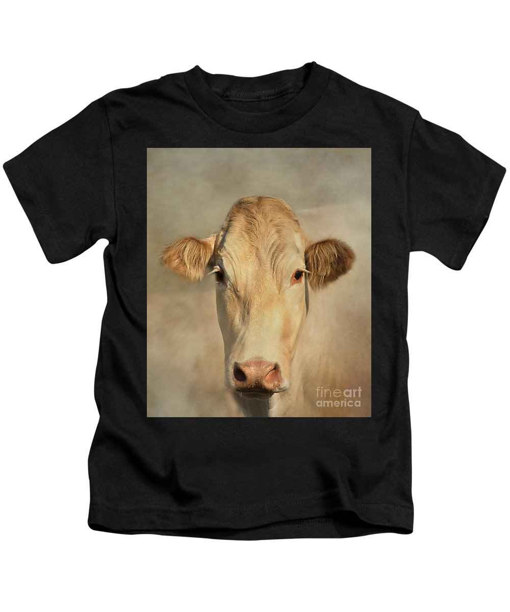 Cow Kids T-Shirt featuring the photograph Cow Portrait by Linsey Williams