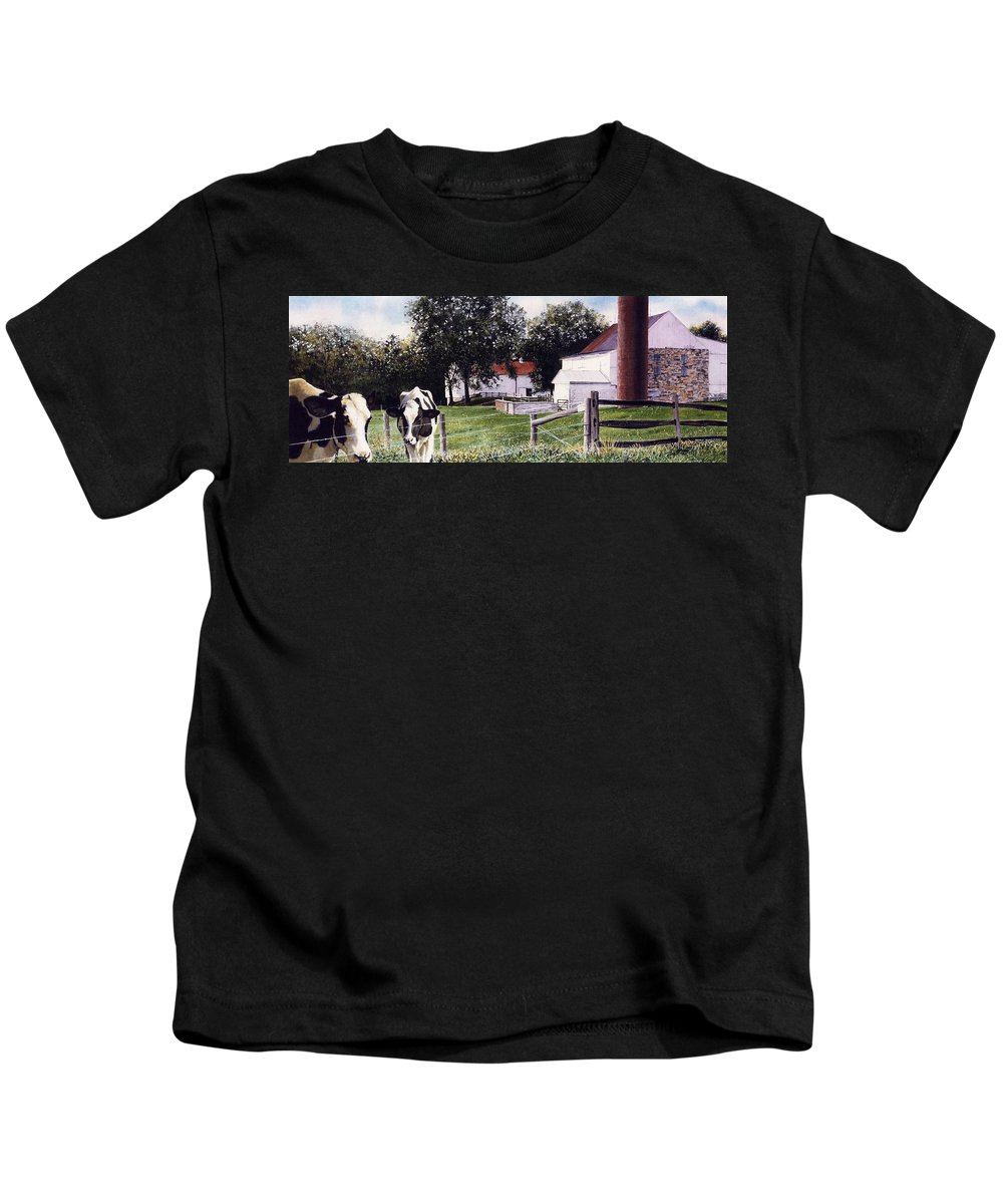Cows Kids T-Shirt featuring the painting Cow Spotting by Denny Bond
