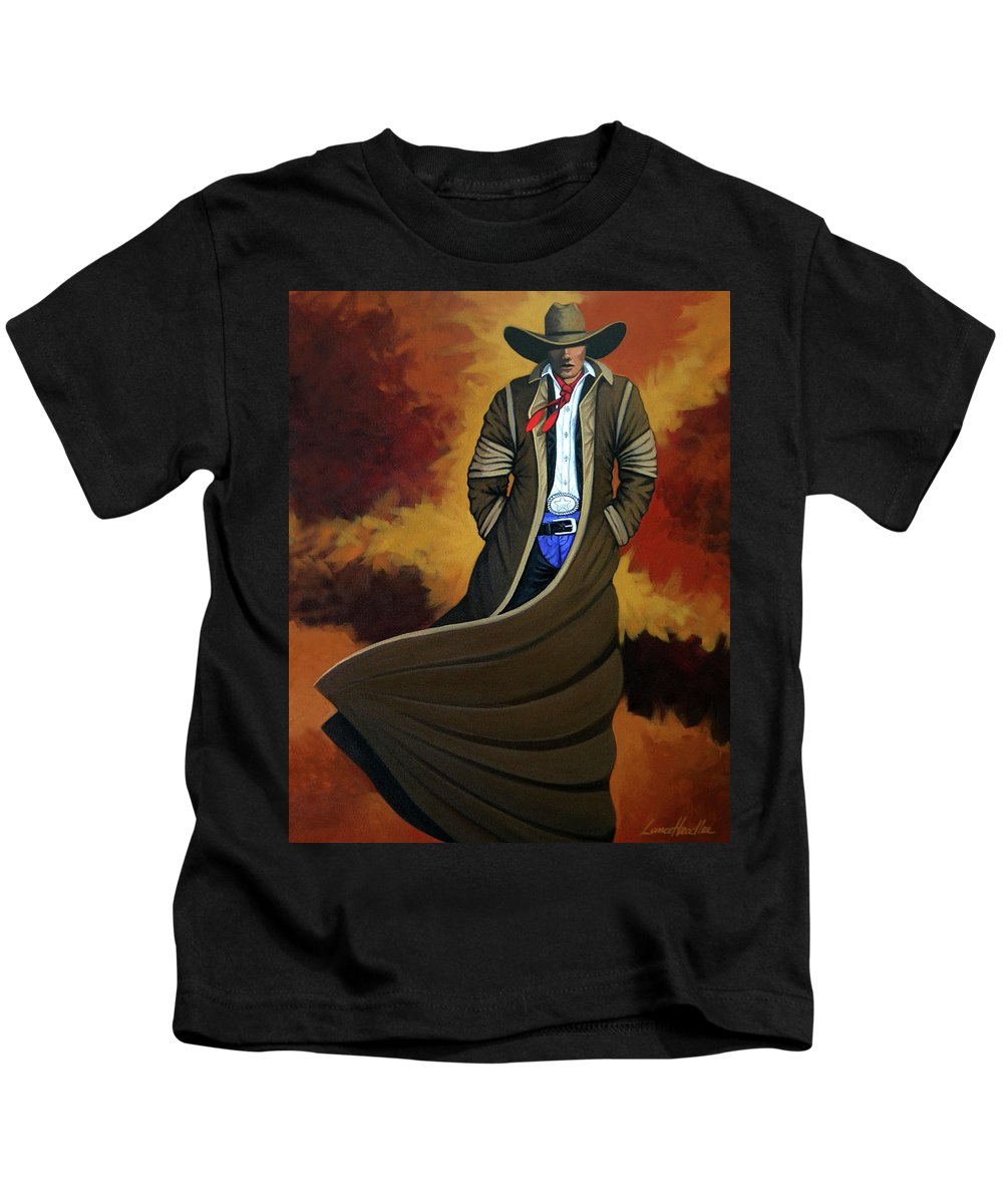 Cowgirl Kids T-Shirt featuring the painting Cowboy Dust by Lance Headlee
