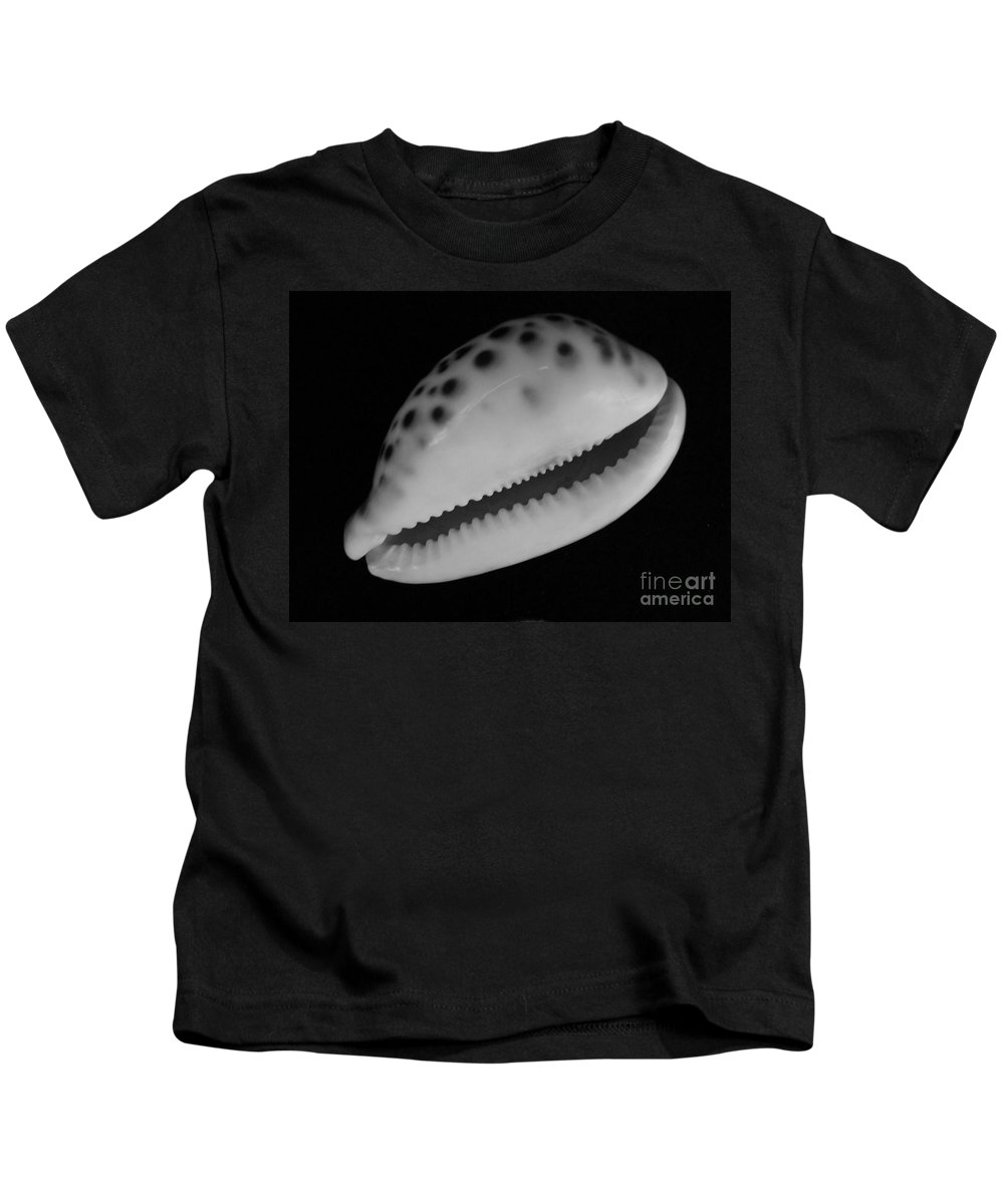 Mary Deal Kids T-Shirt featuring the photograph Cowry Shell In Black And White by Mary Deal