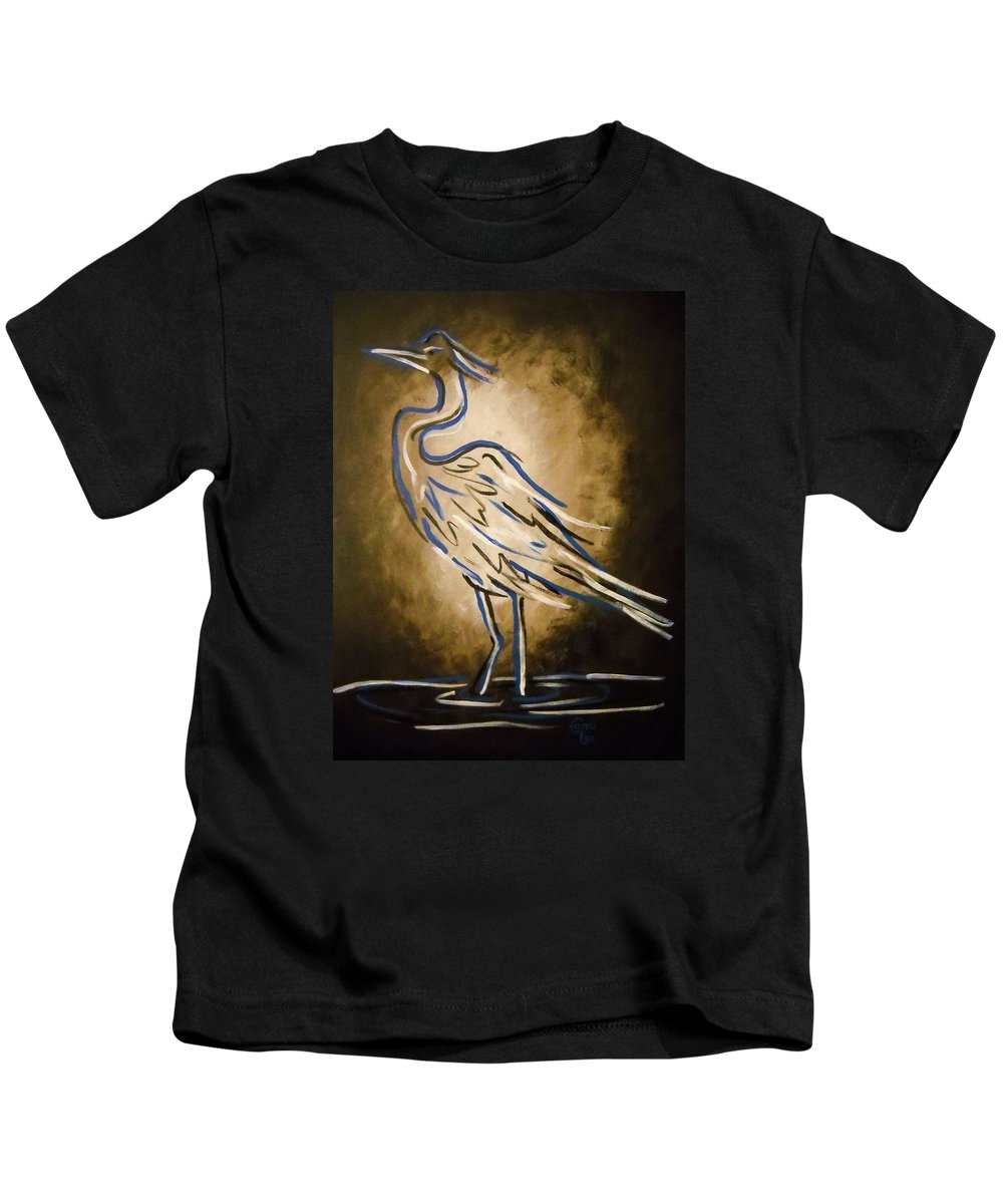 Crane Kids T-Shirt featuring the painting Crane by Cami Lee