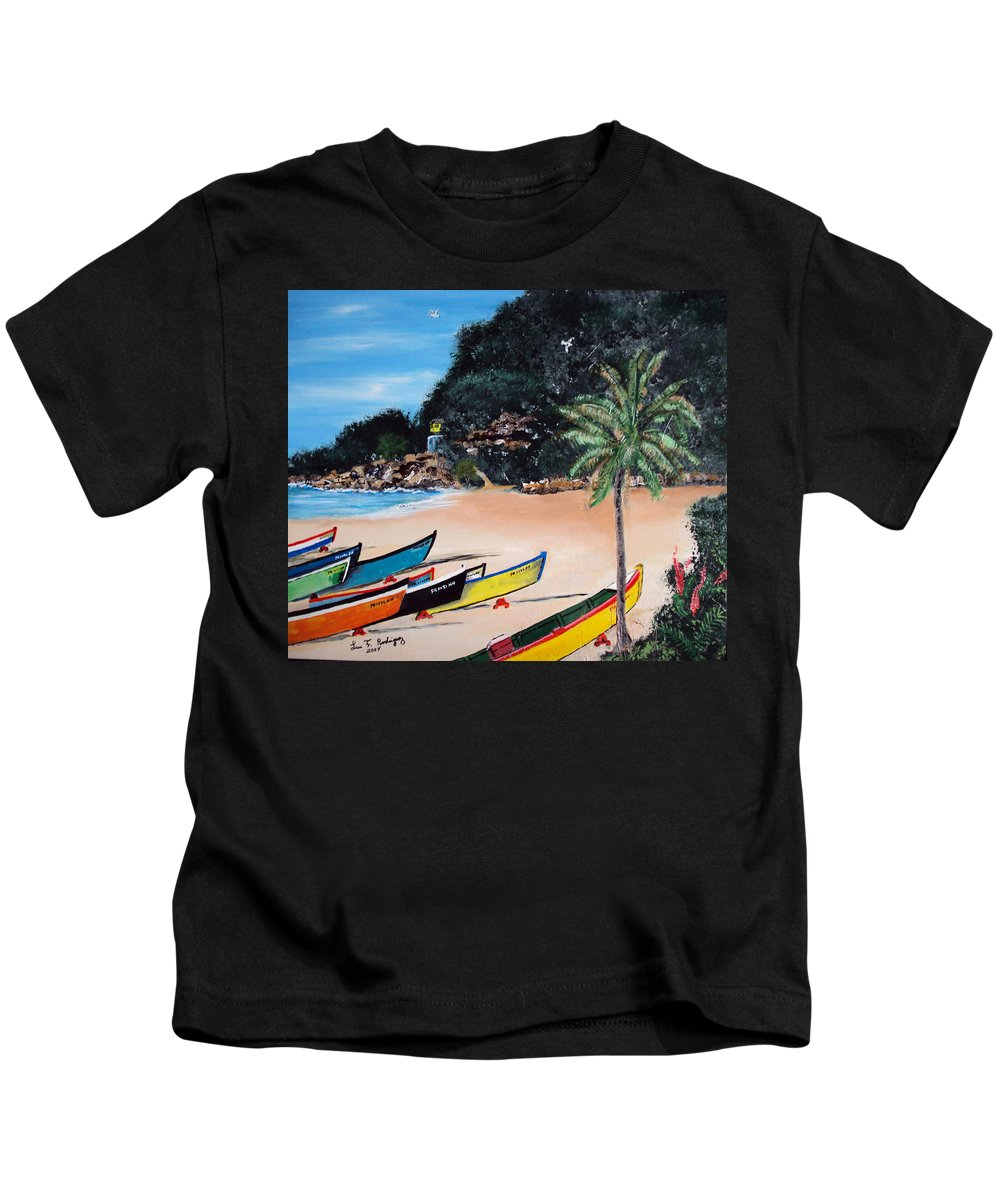 Aguadilla Kids T-Shirt featuring the painting Crashboat Beach I by Luis F Rodriguez