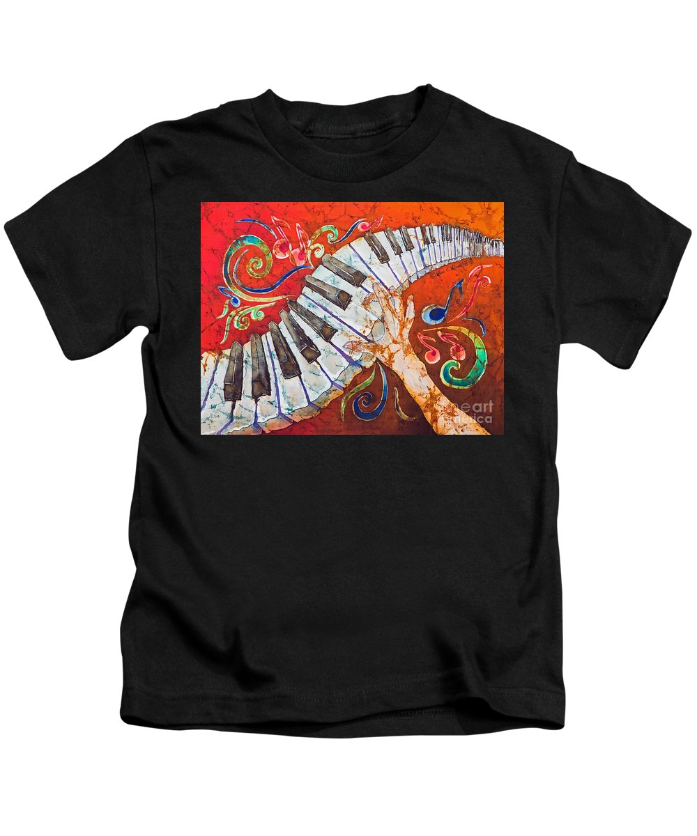 Piano Kids T-Shirt featuring the tapestry - textile Crazy Fingers - Piano Keyboard by Sue Duda