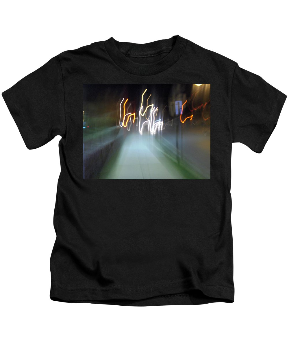 Photograph Kids T-Shirt featuring the photograph Crazy Lights by Thomas Valentine