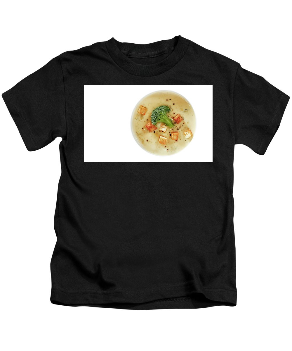 Cream_of_broccoli_soup Kids T-Shirt featuring the photograph Cream Of Broccoli Soup by Slava Shamanoff