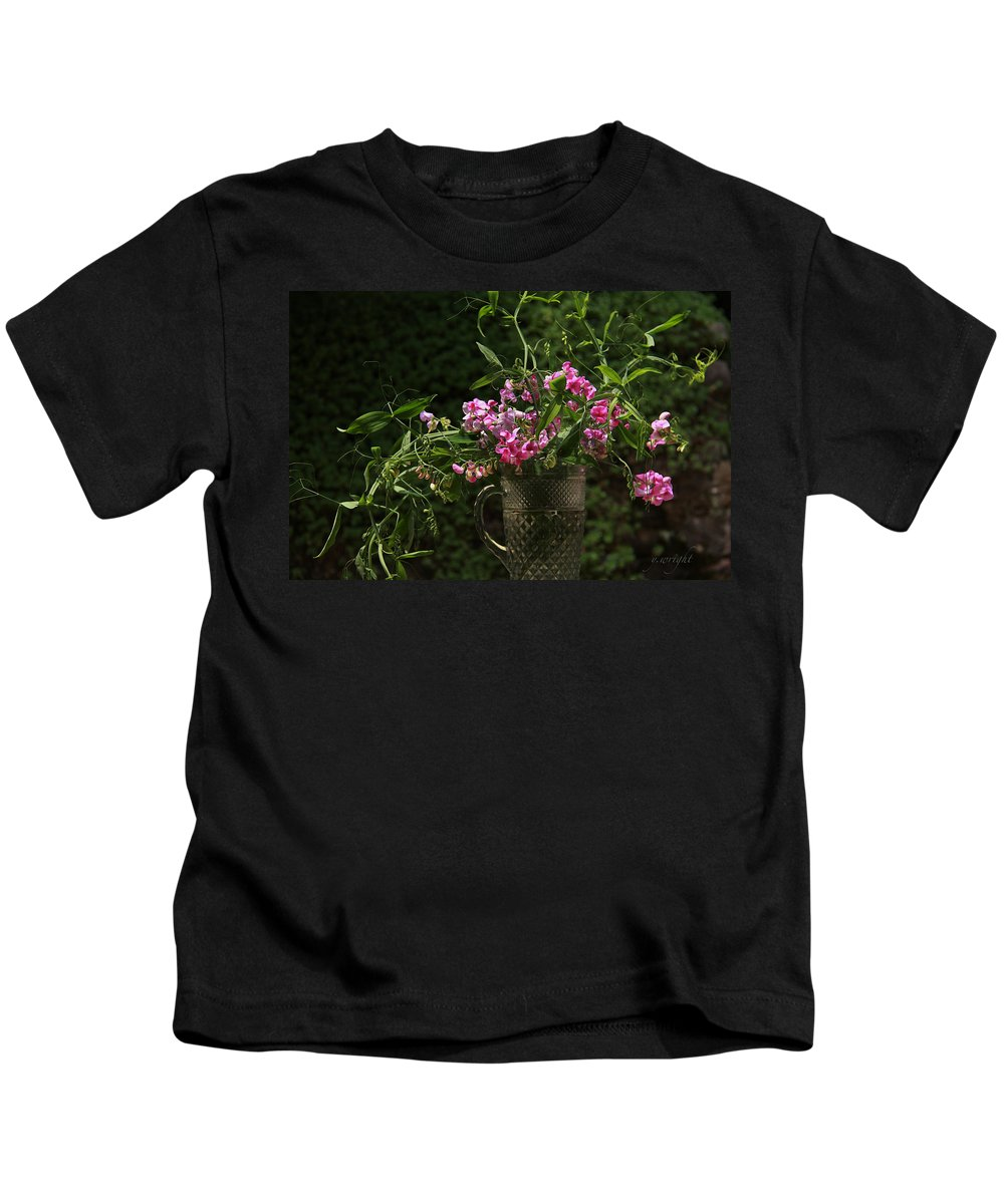 Summer Flowers Kids T-Shirt featuring the photograph Creeping Peas by Yvonne Wright