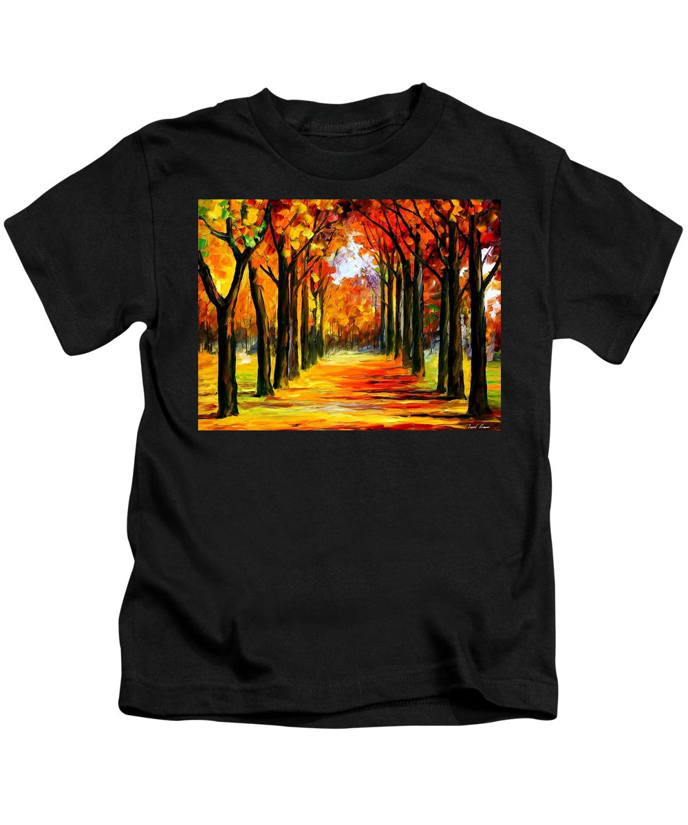 Afremov Kids T-Shirt featuring the painting Crimson Alley by Leonid Afremov