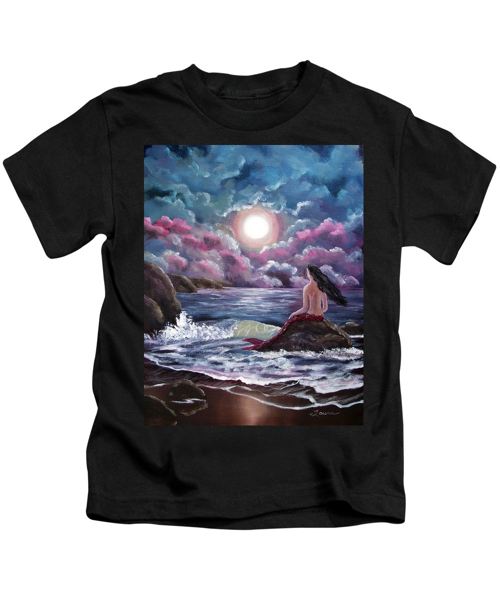 Moon Kids T-Shirt featuring the painting Crimson Mermaid by Laura Iverson