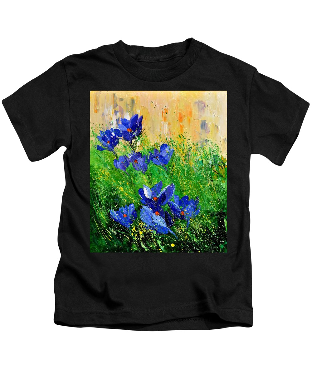 Kids T-Shirt featuring the painting Crocusses 67 by Pol Ledent