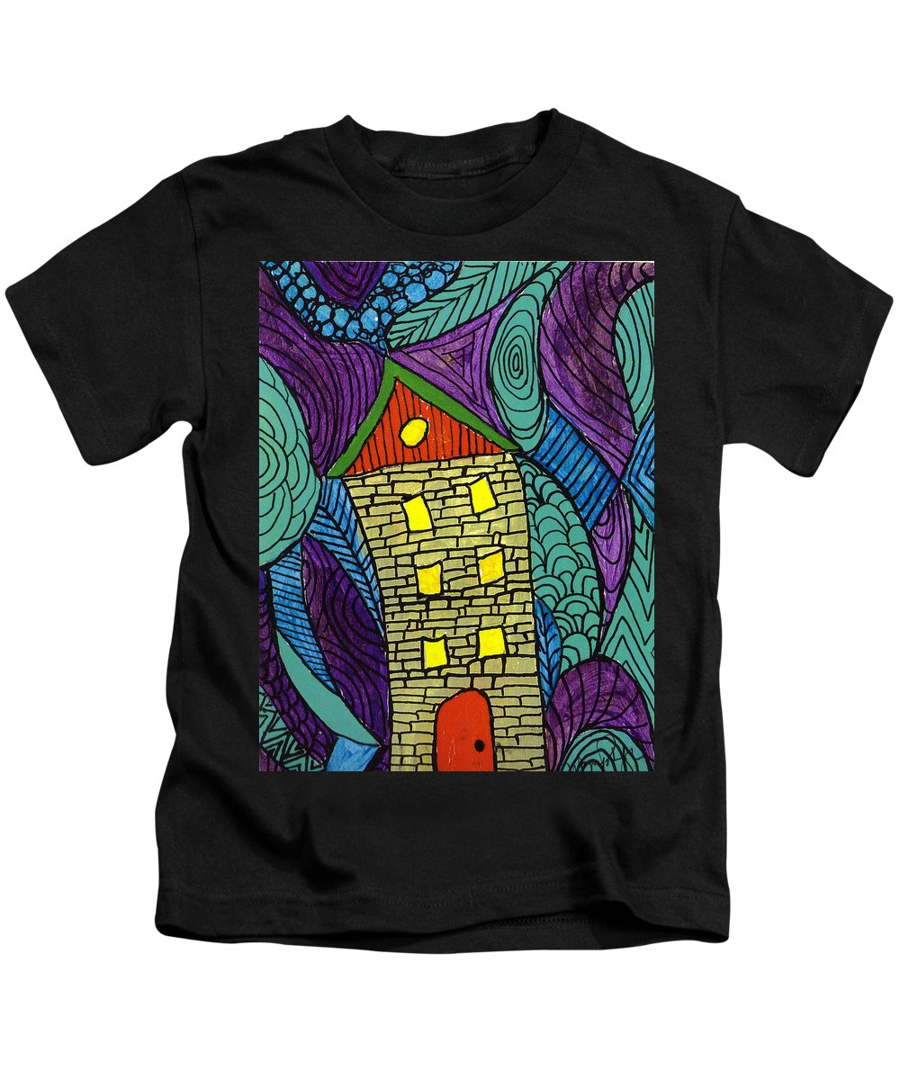 House Kids T-Shirt featuring the painting Crooked Yellow Brick House by Wayne Potrafka
