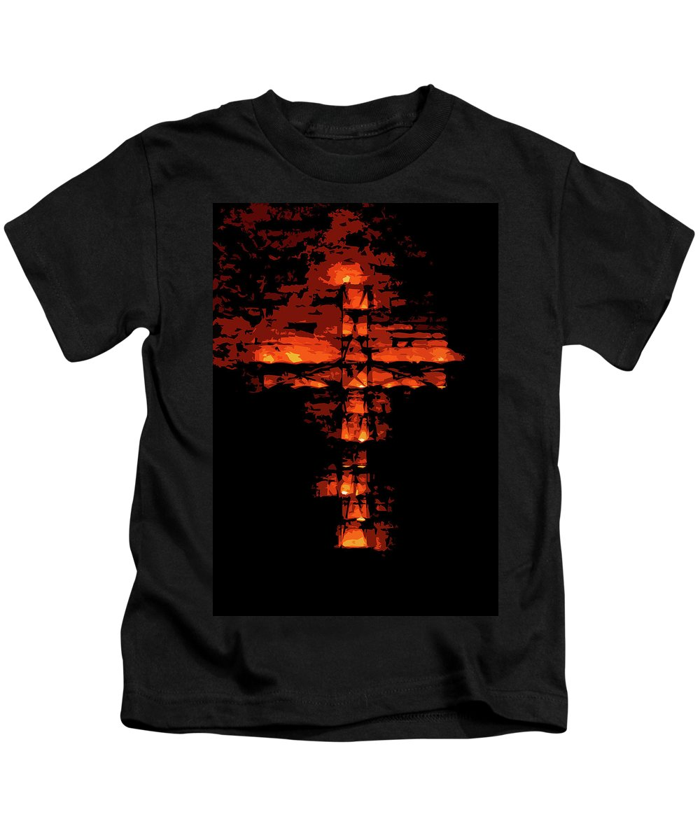 Cross On Fire Kids T-Shirt featuring the painting Cross On Fire by Andrea Mazzocchetti