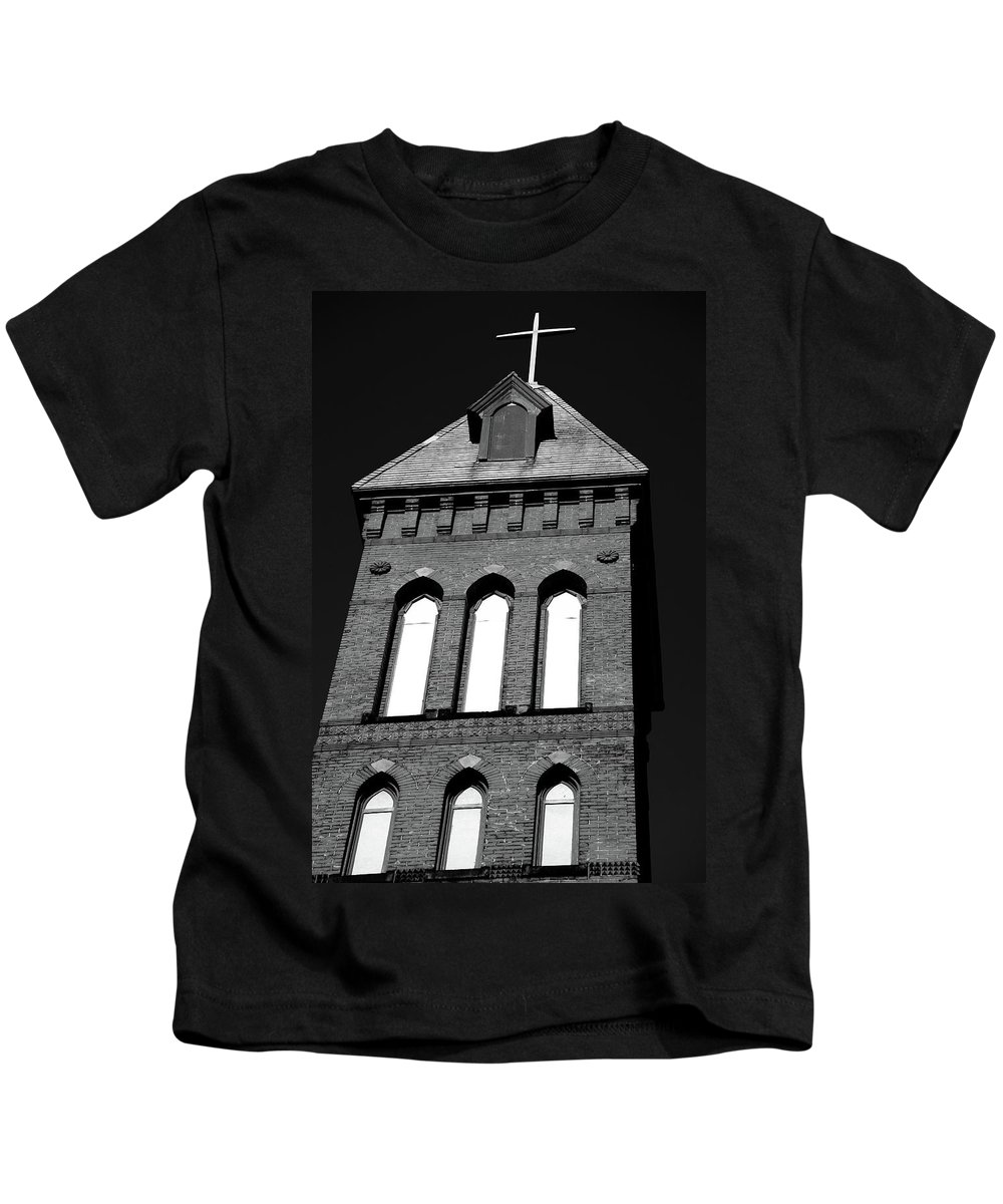 Church Kids T-Shirt featuring the photograph Cross Tower by Karol Livote