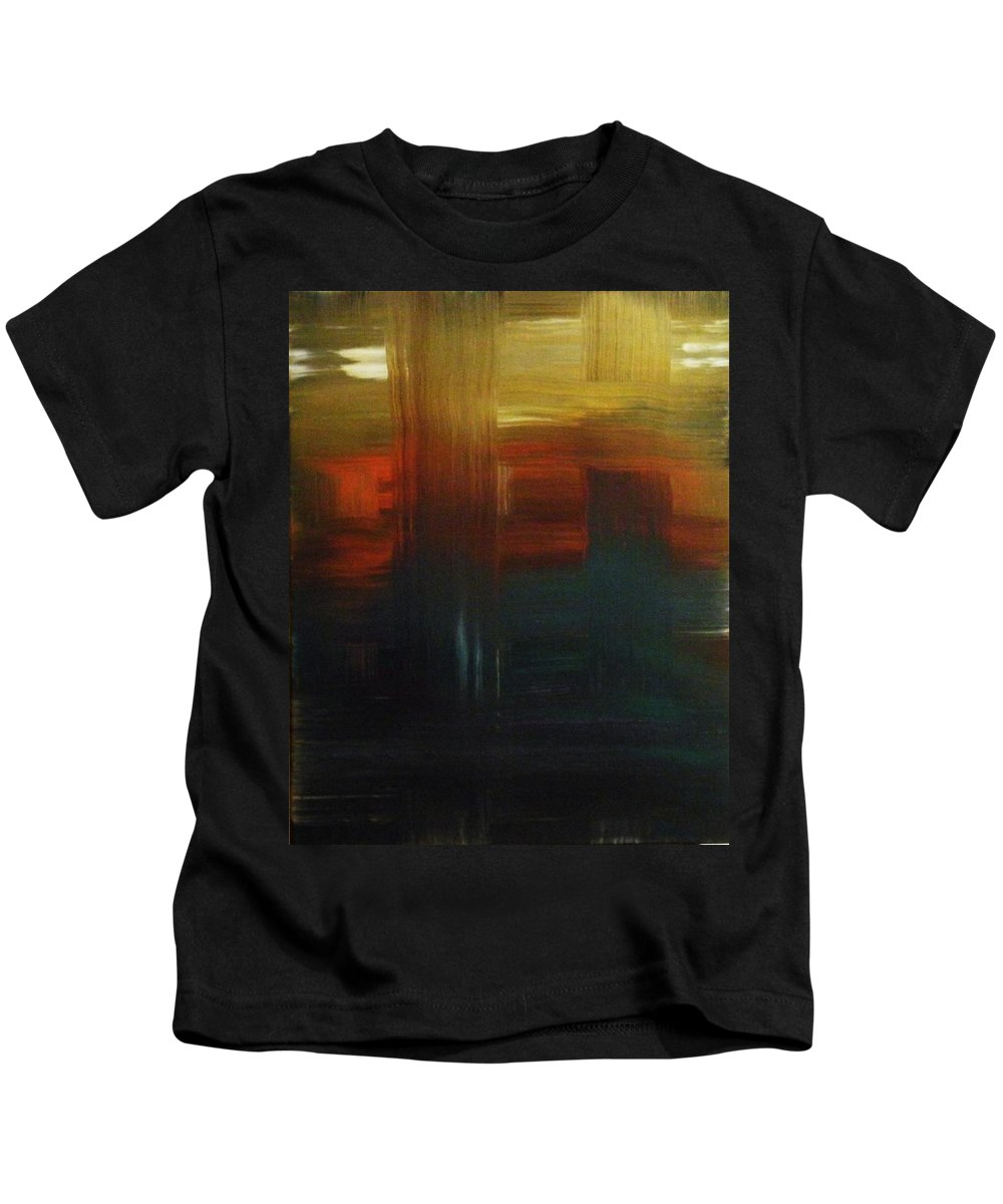 Abstract Kids T-Shirt featuring the painting Crossroads by Todd Hoover
