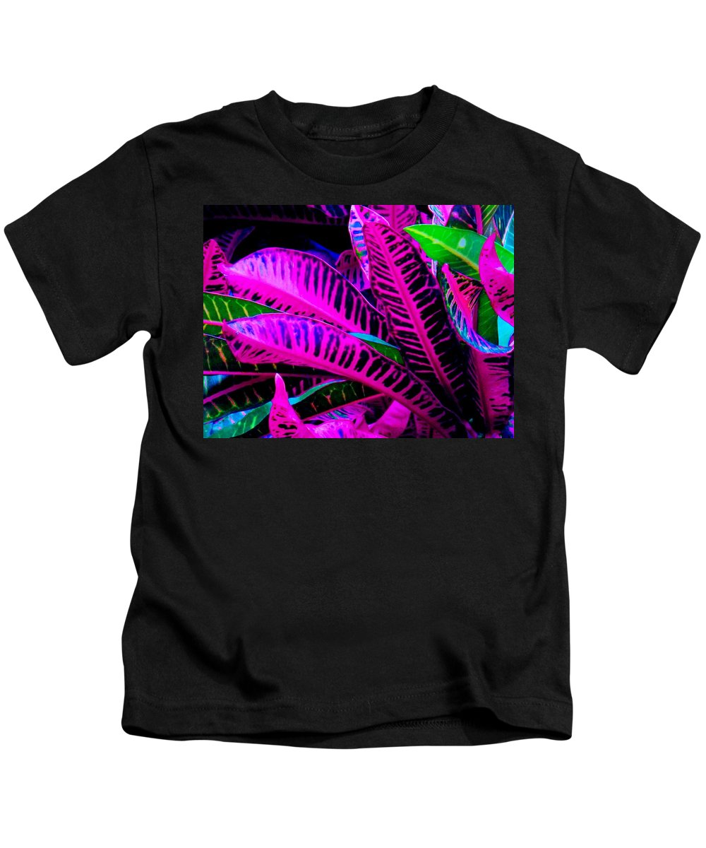 Croydon Plants Purple Green Kids T-Shirt featuring the photograph Croton by Ian MacDonald