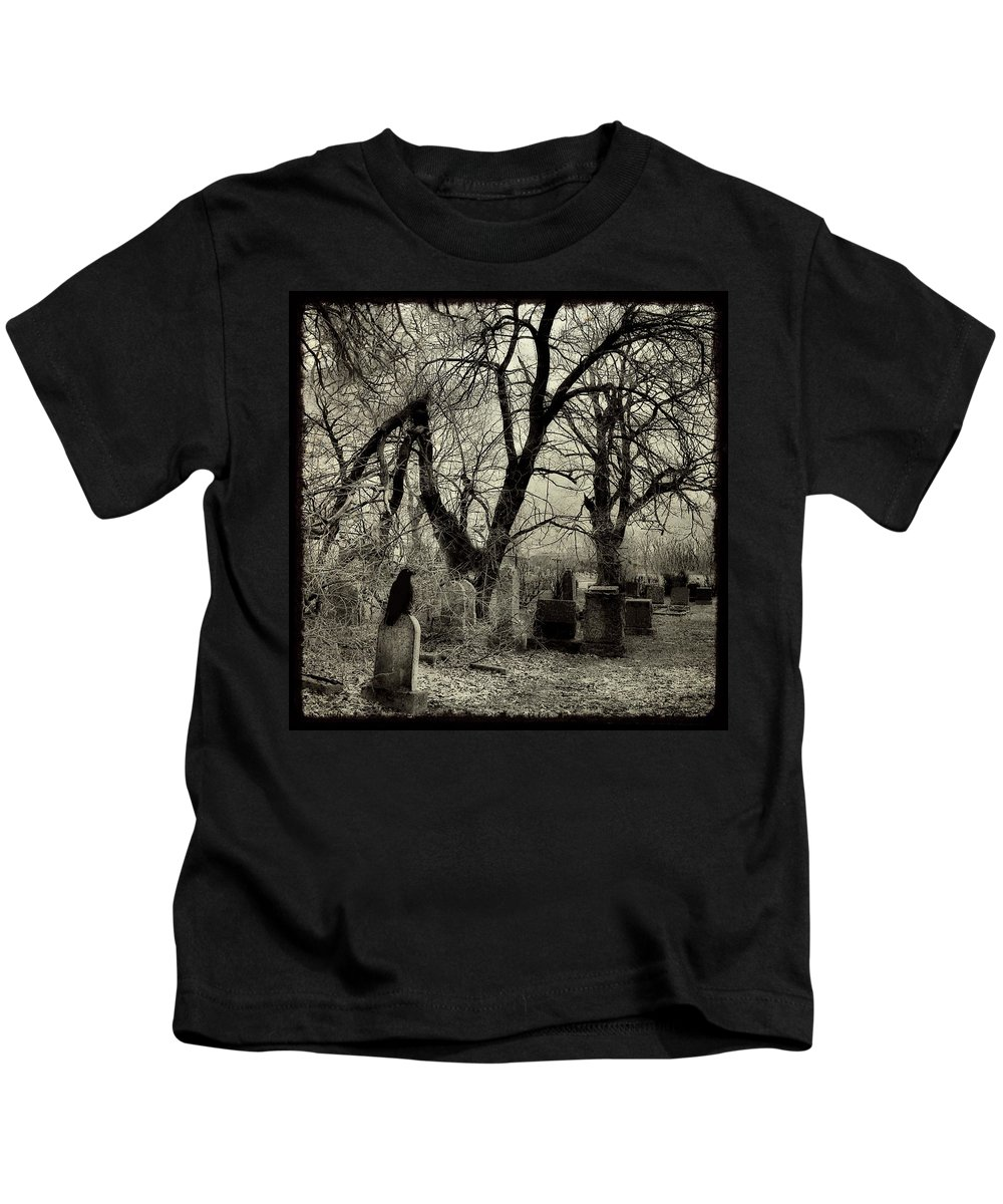 Crow Kids T-Shirt featuring the photograph Crow Waits On Tombstone by Gothicrow Images