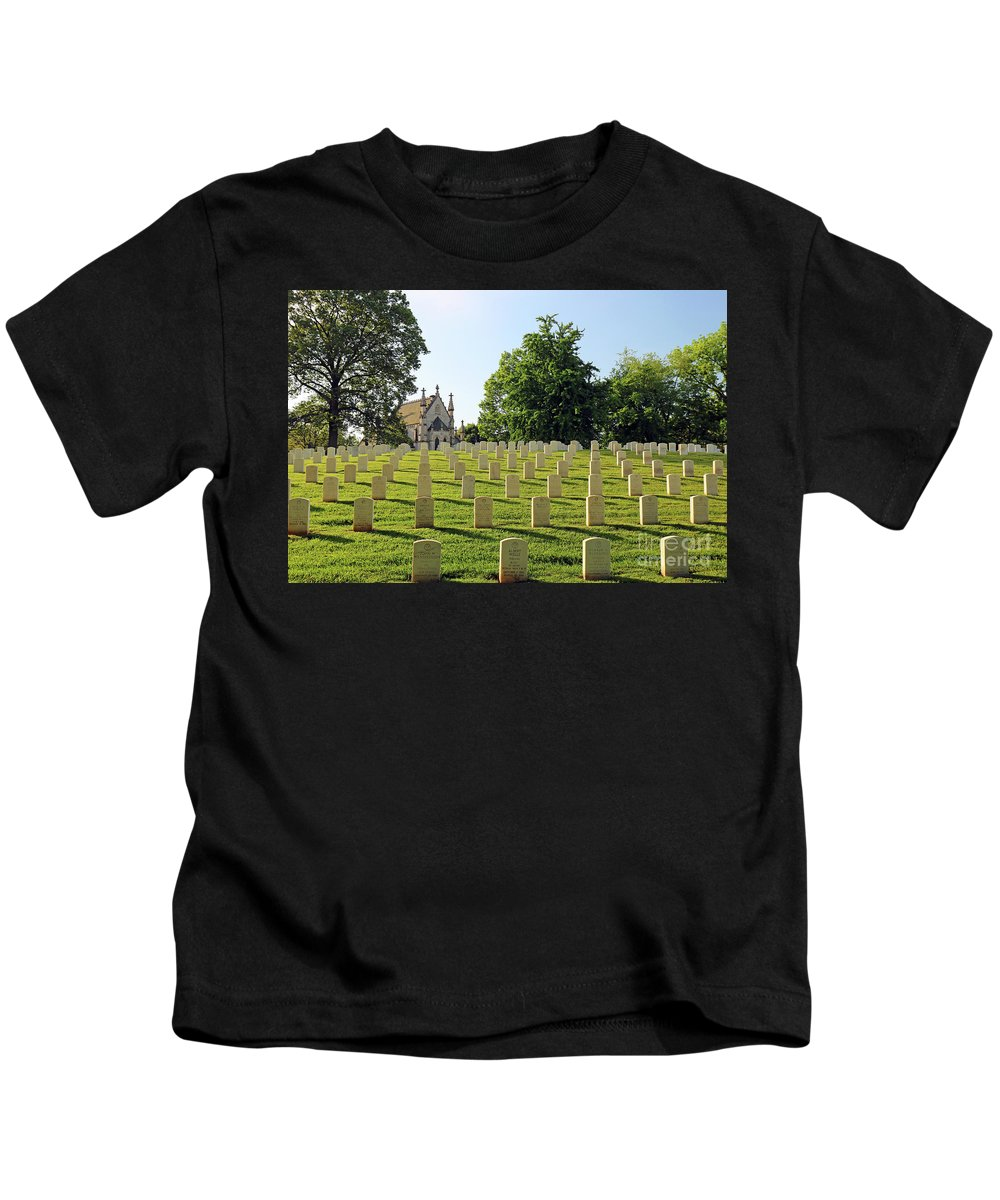 Cemetery Kids T-Shirt featuring the photograph Crown Hill National Cemetery, Indianapolis, Indiana by Steve Gass