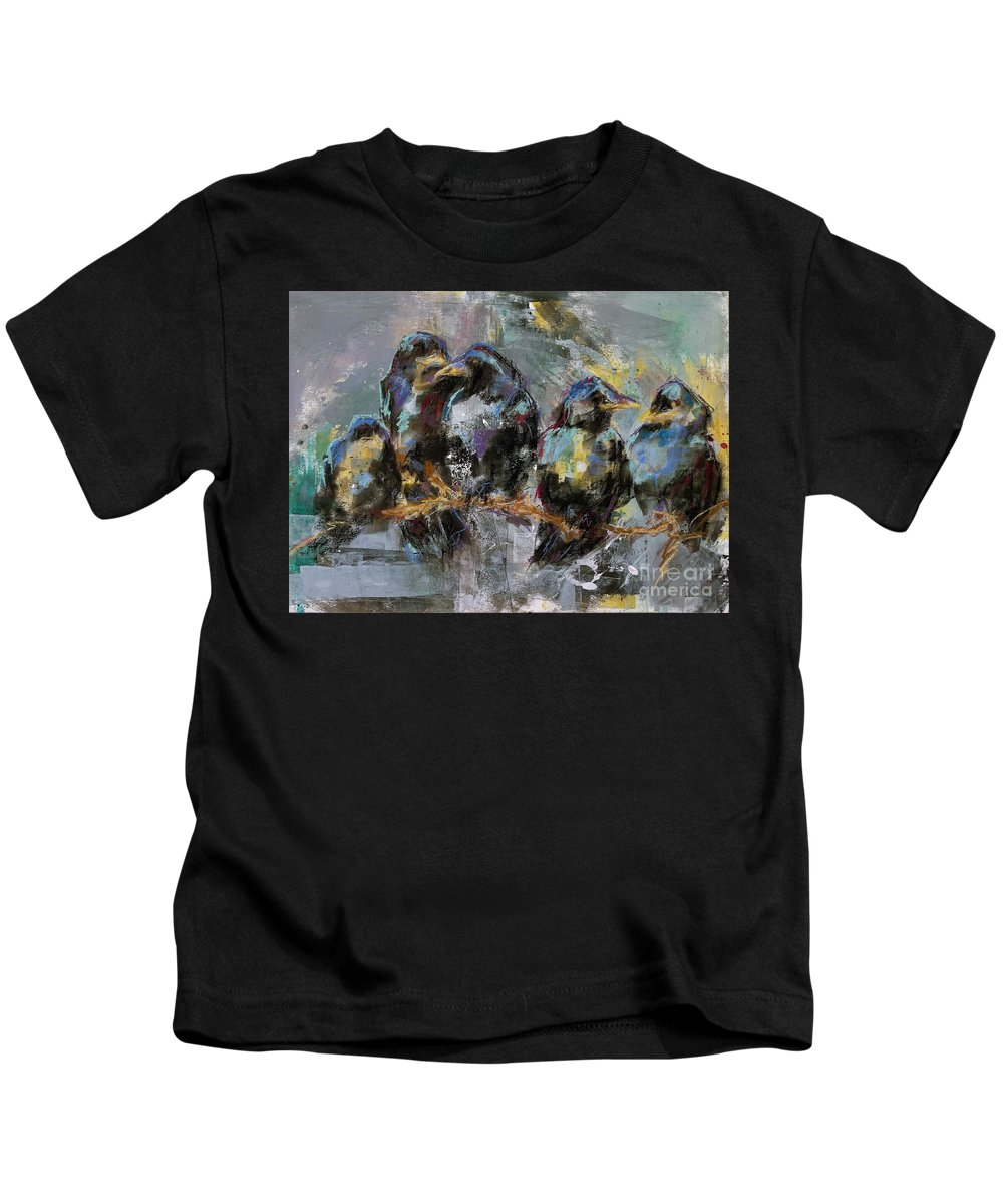 Crows Kids T-Shirt featuring the painting Crows In A Row by Frances Marino