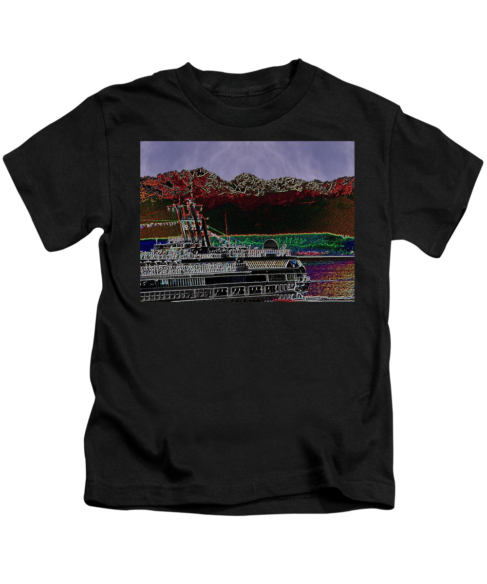 Seattle Kids T-Shirt featuring the digital art Cruising Puget Sound by Tim Allen