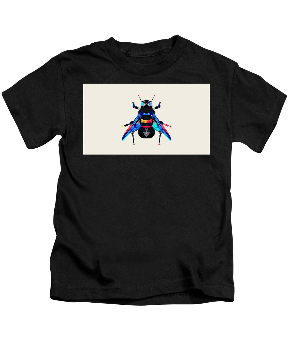 Low Polygon Kids T-Shirt featuring the digital art Crystal Fly - 53 by Jovemini ART