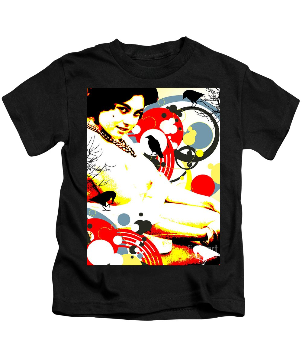 Nostalgic Seduction Kids T-Shirt featuring the digital art Curious Crow by Chris Andruskiewicz