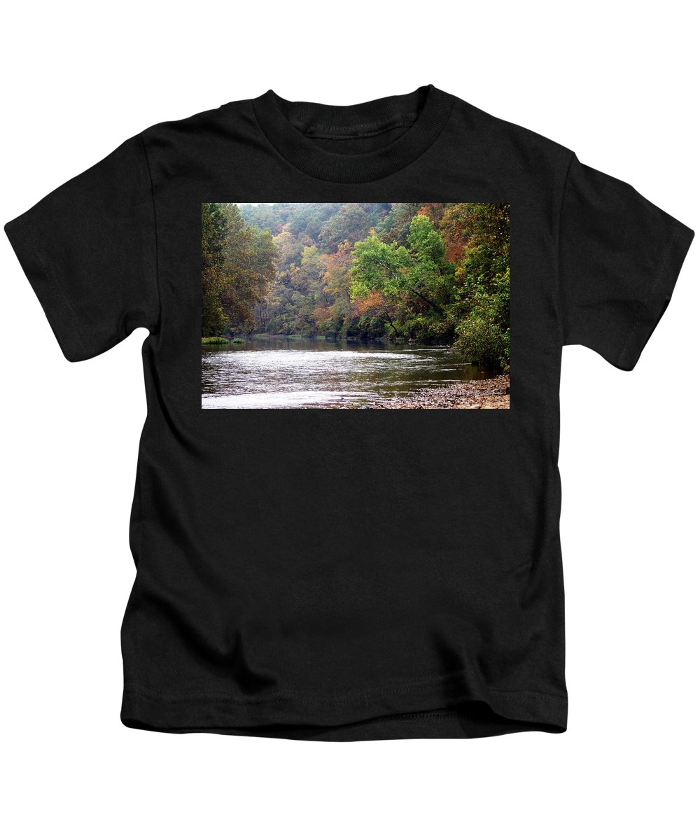 Current River Kids T-Shirt featuring the photograph Current River Fall by Marty Koch