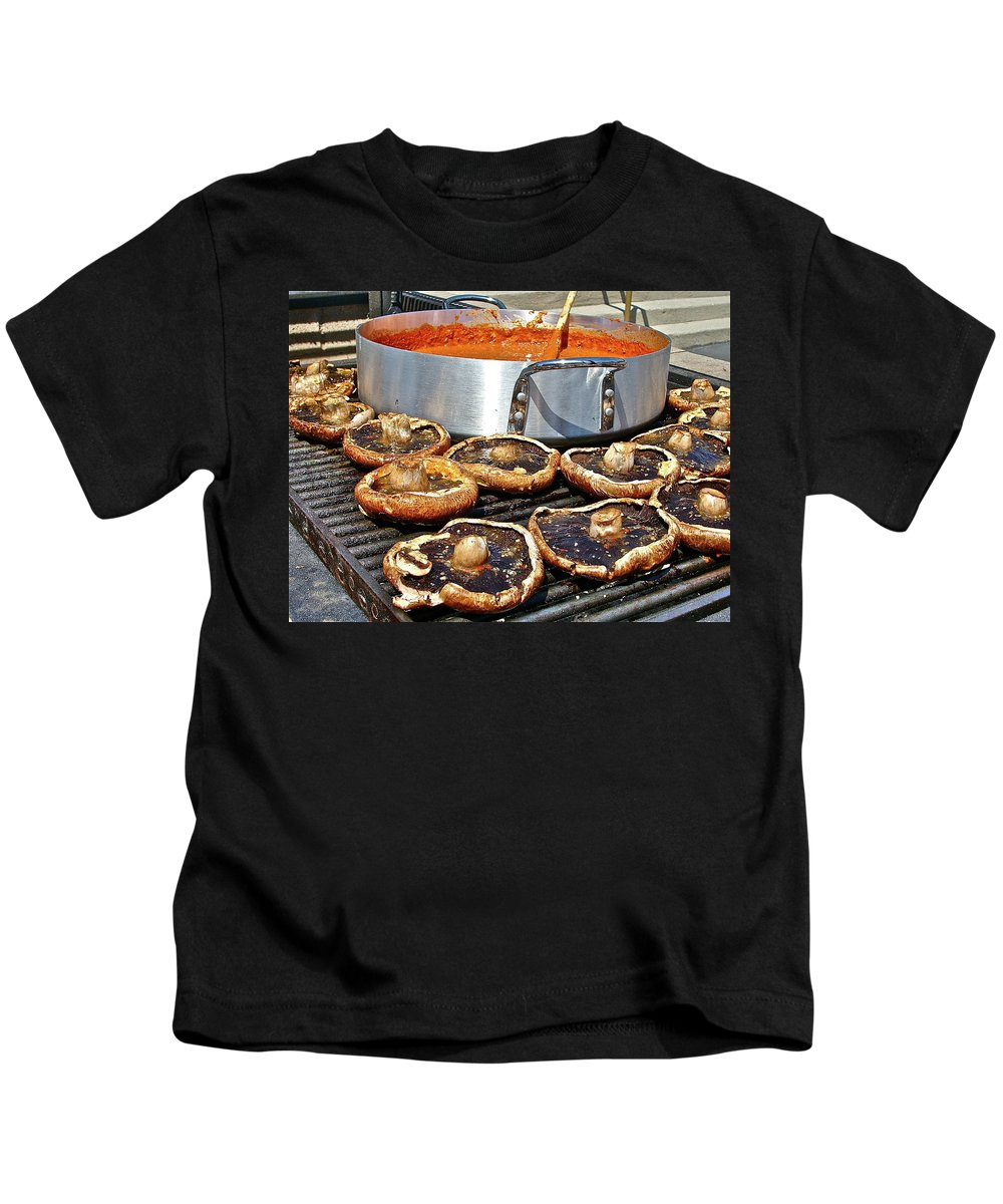 Food Kids T-Shirt featuring the photograph Curt's Mushrooms by Diana Hatcher